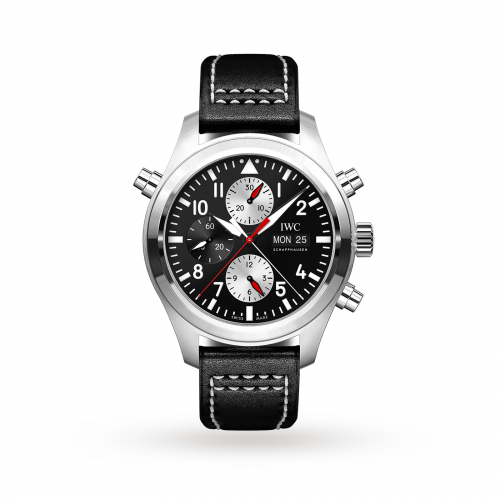 IWC IW3718-13 : Pilot's Watch Double Chronograph Stainless Steel / Black-Silver / Calf / Watches of Switzerland