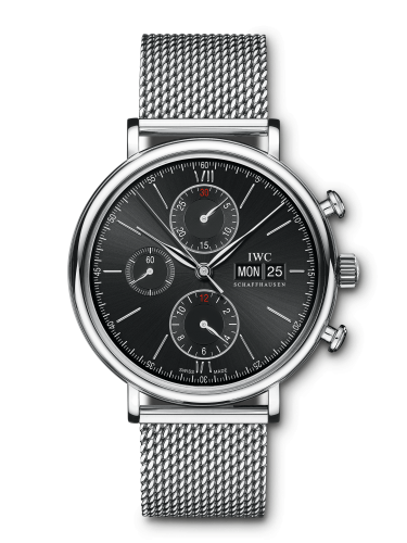 IWC IW3910-30 : Portofino Chronograph Stainless Steel / Black / Milanese