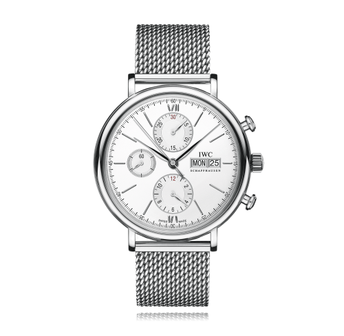IWC IW3910-32 : Portofino Chronograph Stainless Steel / Silver  / Milanese