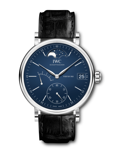 """IWC IW5164-05 : Portofino Hand-Wound Eight Days Moonphase """"150 Years"""" Stainless Steel / Blue"""