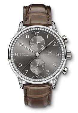 IWC IW3714-41 : Portuguese Chrono-Automatic White Gold / Ardoise / Diamond