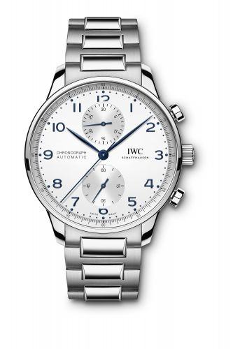 IWC IW3716-17 : Portugieser Chronograph Stainless Steel / Silver - Blue / Bracelet