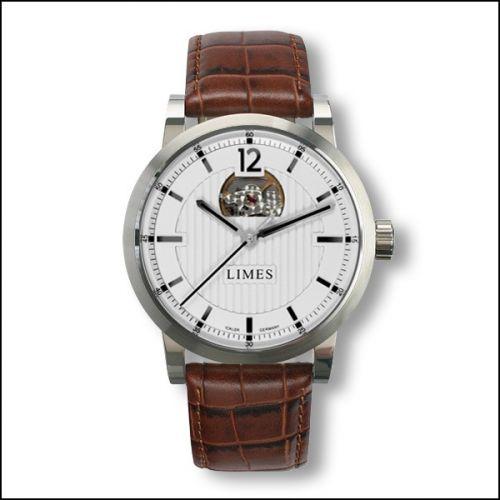 Limes U6017-LA2.2 : Chyros Balancier Visible - Silvered / brown leather strap