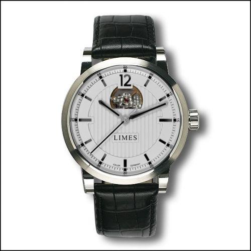 Limes U6017-LA2.5 : Chyros Balancier Visible - silvered / black leather strap (Croco)