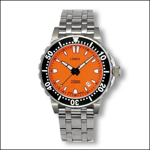 Limes U8787B-LA2.3 : Tausend Automatic Orange - steel bracelet