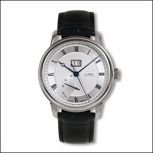 U6282C-LA4.3 : Limes Pharo BigDate - Silvered / black leather strap