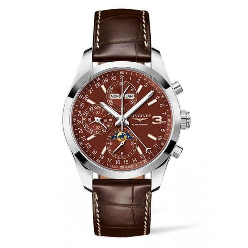 Longines L2.798.4.62.3 : Conquest Classic Moonphase Stainless Steel / Chocolate / Triple Crown Collection