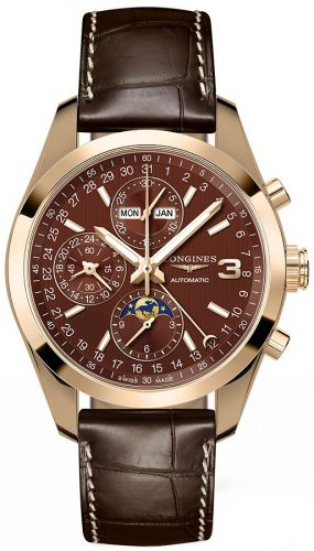 L2.798.8.62.3 : Longines Conquest Classic Moonphase Pink Gold / Chocolate / Triple Crown Collection