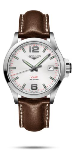 Longines L3.726.4.76.5 : Conquest V.H.P. 43 Stainless Steel / Silver / Leather
