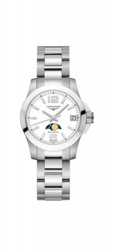 Longines L3.380.4.16.6 : Conquest 29.5 Quartz Moonphase Stainless Steel / White / Bracelet