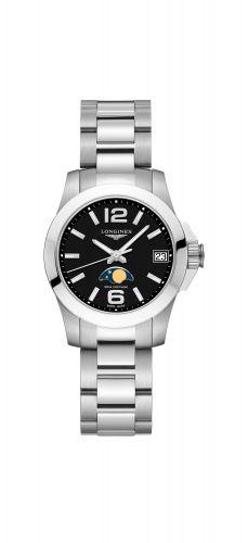 Longines L3.380.4.58.6 : Conquest 29.5 Quartz Moonphase Stainless Steel / Black / Bracelet