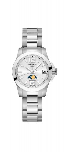 Longines L3.380.4.76.6 : Conquest 29.5 Quartz Moonphase Stainless Steel / Black / Bracelet