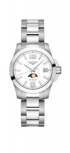 Longines L3.381.4.16.6 : Conquest 34 Quartz Moonphase Stainless Steel / White / Bracelet