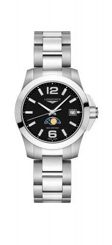 Longines L3.381.4.58.6 : Conquest 34 Quartz Moonphase Stainless Steel / Black / Bracelet