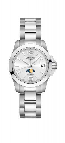 Longines L3.381.4.76.6 : Conquest 34 Quartz Moonphase Stainless Steel / Silver / Bracelet