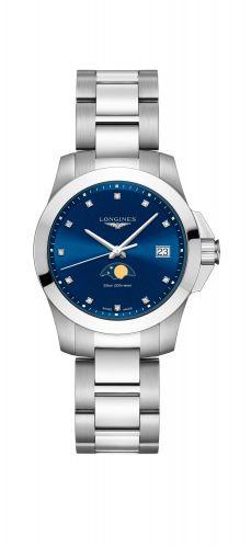 Longines L3.381.4.97.6 : Conquest 34 Quartz Moonphase Stainless Steel / Blue / Bracelet