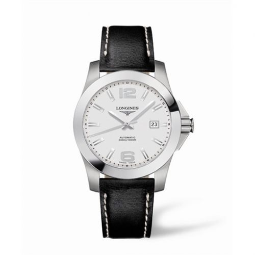 Longines L3.658.4.76.0 : Conquest Automatic 41mm Silver Leather
