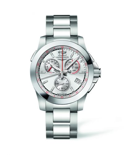 L3.701.4.76.6 : Longines Conquest Chronograph Quartz Jumping 41 Stainless Steel / Silver / Bracelet