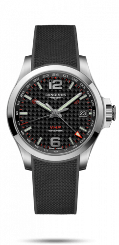 Longines L3.718.4.66.9 : Conquest V.H.P. GMT 41 Stainless Steel / Carbon / Rubber