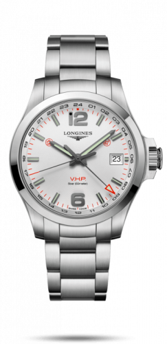 Longines L3.718.4.76.6 : Conquest V.H.P. GMT 41 Stainless Steel / Silver / Bracelet