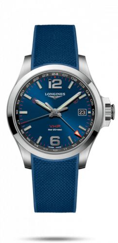 L3.718.4.96.9 : Longines Conquest V.H.P. GMT 41 Stainless Steel / Blue / Rubber