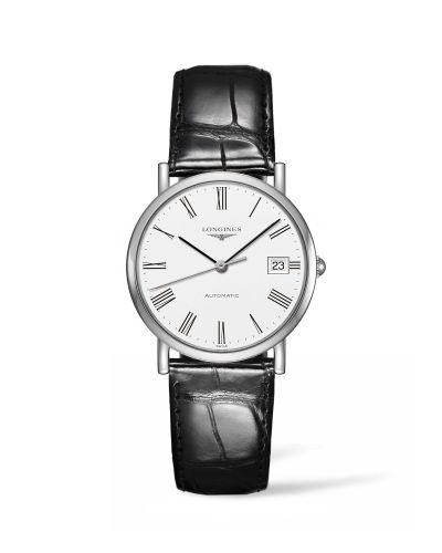 L4.809.4.11.2 : Longines Elegant Collection 34.5 Automatic Stainless Steel / White / Strap