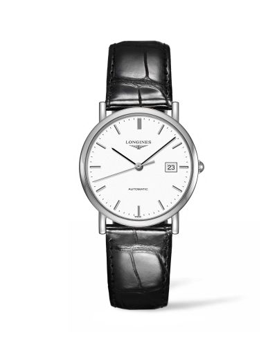 Longines L4.809.4.12.2 : Elegant Collection 34.5 Automatic Stainless Steel / White / Strap