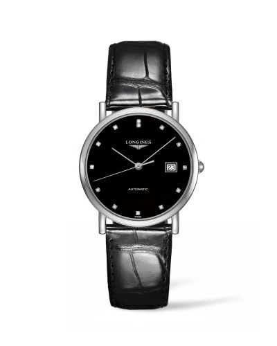 Longines L4.809.4.57.2 : Elegant Collection 34.5 Automatic Stainless Steel / Black / Strap