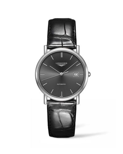 Longines L4.809.4.72.2 : Elegant Collection 34.5 Automatic Stainless Steel / Grey / Strap