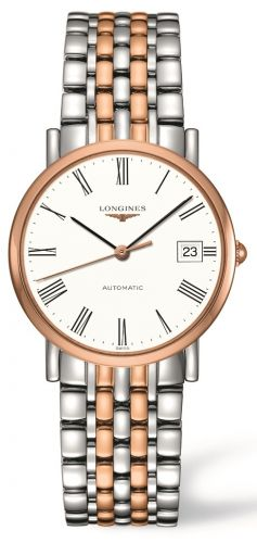 Longines L4.809.5.11.7 : Elegant Collection 34.5 Automatic Stainless Steel / Red Gold / White