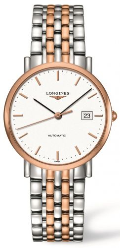 Longines L4.810.5.12.7 : Elegant Collection Automatic 37 Stainless Steel / Red Gold / White