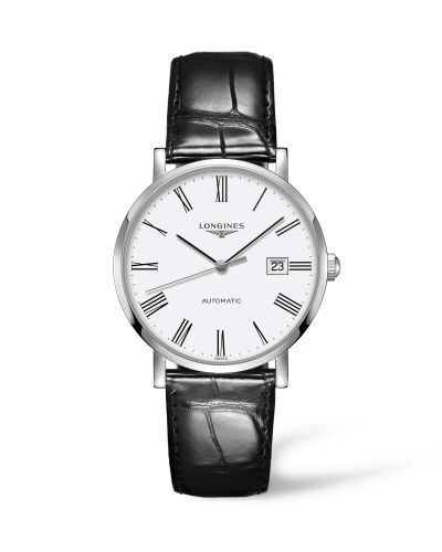 Longines L4.910.4.11.2 : Elegant Collection Automatic 39 Stainless Steel / White / Strap