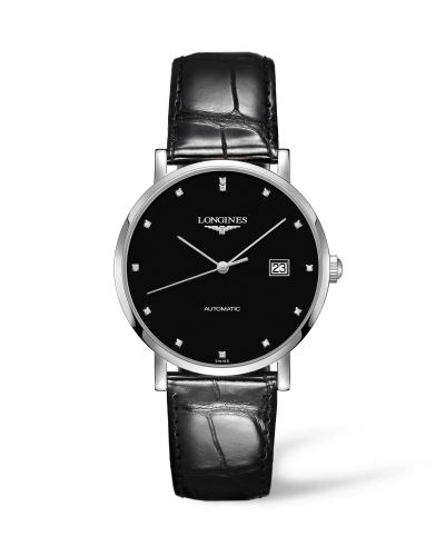 Longines L4.910.4.57.2 : Elegant Collection Automatic 39 Stainless Steel / Black / Strap