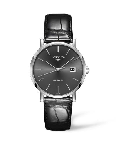 Longines L4.910.4.72.2 : Elegant Collection Automatic 39 Stainless Steel / Grey / Strap