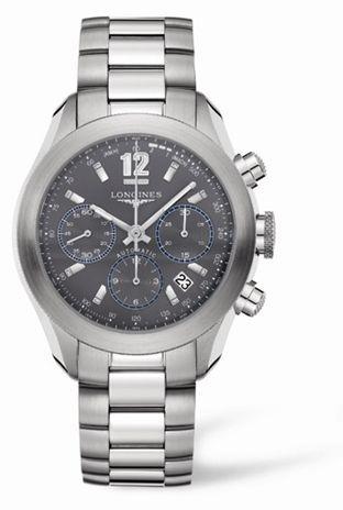 Longines L3.635.4.06.6 : GrandeVitesse Chronograph Grey Bracelet