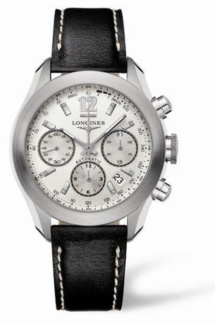 Longines L3.635.4.76.2 : GrandeVitesse Chronograph Silver Leather