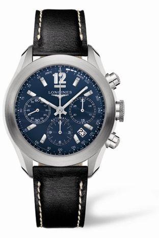 Longines L3.635.4.96.2 : GrandeVitesse Chronograph Blue Leather