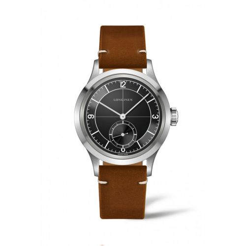 Longines L2.828.4.53.2 : Heritage 38.5 Small Seconds Black Sector