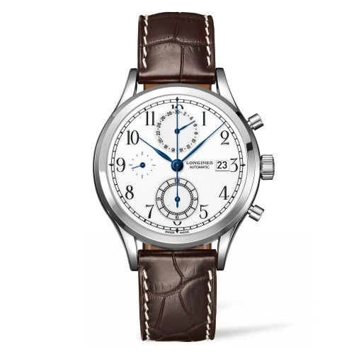 Longines L2.815.4.23.2 : Heritage Classic Chrono Stainless Steel / White / Strap