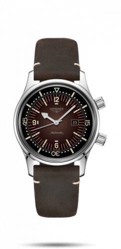 Longines L3.374.4.60.0 : Legend Diver 36 Stainless Steel / Brown / Strap