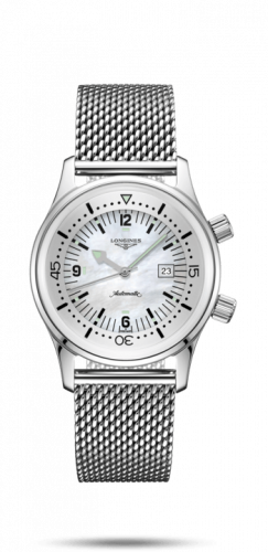 L3.374.4.80.6 : Longines Legend Diver 36 Stainless Steel / MOP / Mesh
