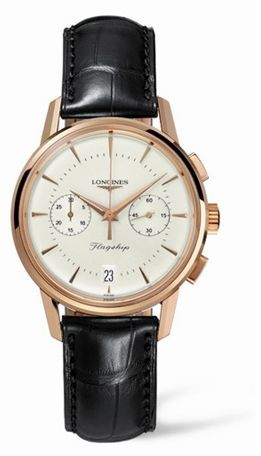 Longines L4.756.8.72.2 : Flagship Heritage Chronograph Pink Gold