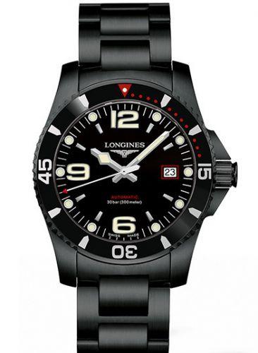 Longines L3.742.2.56.6 : HydroConquest 41 Automatic PVD / Black / Bracelet / Japan
