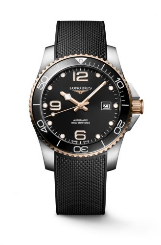 Longines L3.781.3.58.9 : HydroConquest 41 Automatic Stainless Steel / Rose Gold / Black / Rubber