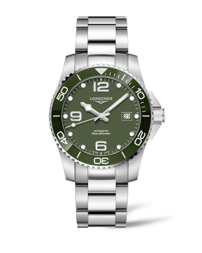 Longines L3.781.4.06.6 : HydroConquest 41 Automatic Stainless Steel / Ceramic / Green / Bracelet