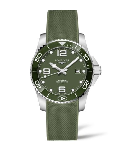 Longines L3.781.4.06.9 : HydroConquest 41 Automatic Stainless Steel / Ceramic / Green / Rubber