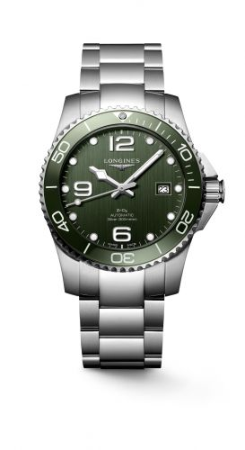 L3.785.4.06.6 : Longines HydroConquest 41 Automatic Stainless Steel / Ceramic / Green / Bracelet