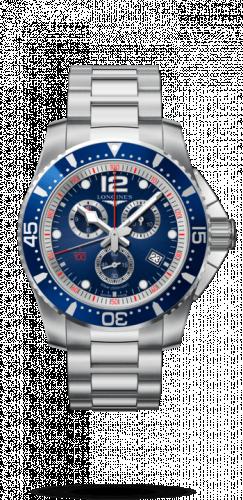 Longines L3.843.4.96.6 : HydroConquest 47.5 Quartz Chronograph Stainless Steel / Blue / Bracelet