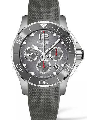 Longines L3.883.4.76.9 : HydroConquest 43 Automatic Chronograph Stainless Steel / Ceramic / Grey / Rubber