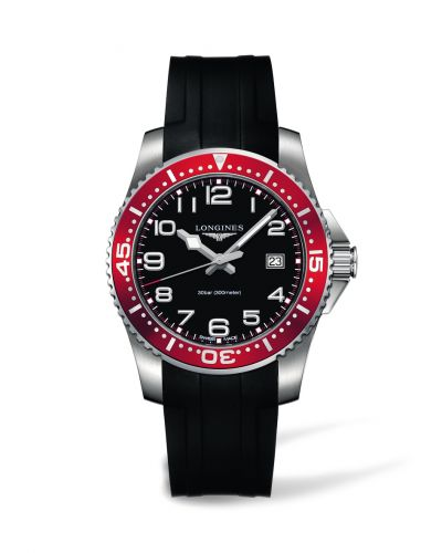 Longines L3.689.4.59.2 : Hydroconquest Quartz 41 Black / Red Rubber